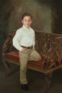 oil portrait painting of young boy on an ornate wood bench