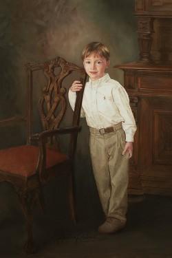 portrait in oil of little boy in front of a wooden hutch