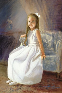 oil portrait of young girl sitting in a blue easy chair