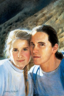 custom portrait in oil of brother and sister in mountains