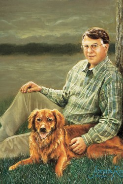 oil painting portrait of man and golden retriever