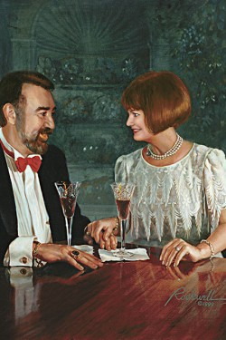 oil portrait painting of husband and wife giving a toast