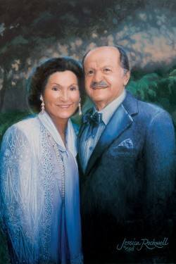 portrait oil painting of Mr. and Mrs. Leslie Gonda