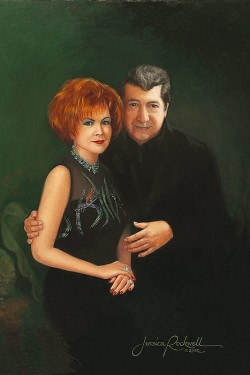 oil painting portrait of husband and wife against greens