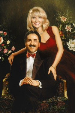 custom portrait painting of husband and wife with flowers