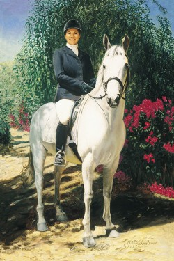 portrait painting in oil of woman on her large white horse