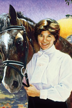 oil portrait painting of woman with her horse