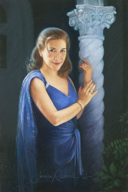 oil painting portrait of woman in blue against column