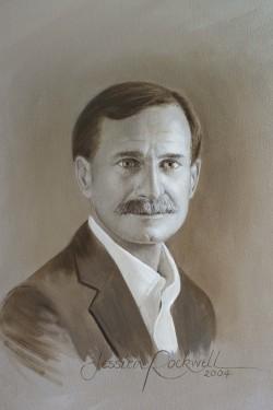 closeup oil portrait of man head and shoulders