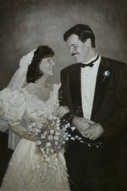 bridal oil painting portrait in sepia tones