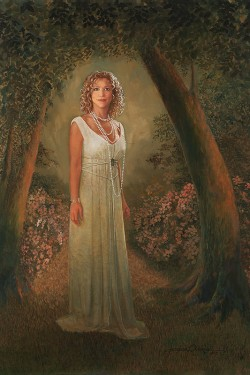 portrait in oil of woman in classic gown in woods