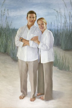 oil painting portrait of couple at beach in serene tones