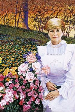 oil portrait painting of woman in her garden