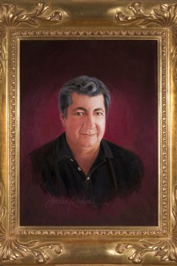 custom oil portrait painting of man with burgundy background