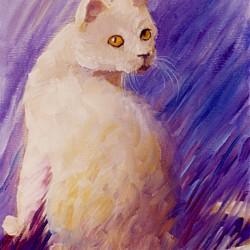 oil portrait of a cream-colored cat
