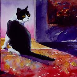 painting of tuxedo kitty
