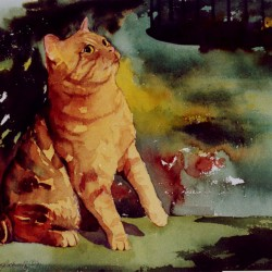 painting of caramel kitty looking at bird