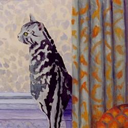 Oil portrait of tabby kitty in window