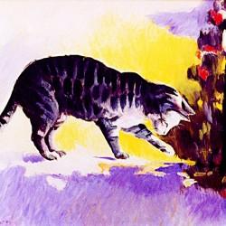 Portrait in oil of tabby kitty in light