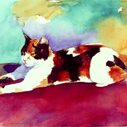 painting of calico kitty