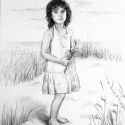 charcoal portrait sketch of little girl at beach