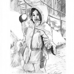 charcoal portrait sketch of little girl in snow