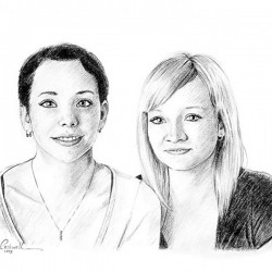 charcoal portrait sketch of 2 sisters