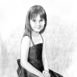 charcoal portrait drawing of young girl seated