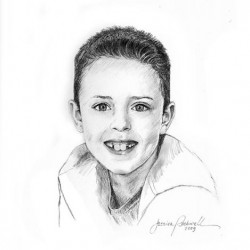 charcoal portrait drawing of boy in football shirt