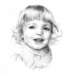 portrait drawing in charcoal of little girl