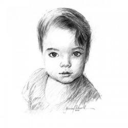 portrait drawing in charcoal of baby girl