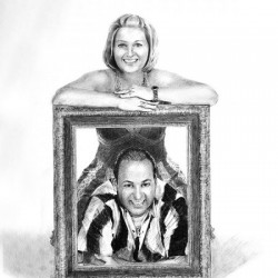 realistic portrait drawing of man and woman with frame