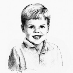 portrait sketch in charcoal of little boy
