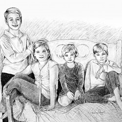 portrait sketch in charcoal of 4 children on settee
