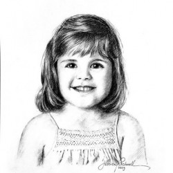portrait sketch in charcoal of little girl
