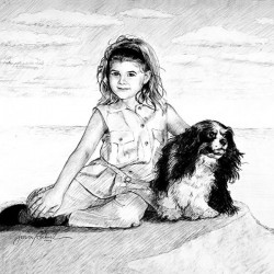 charcoal sketch portrait of little girl with her dog
