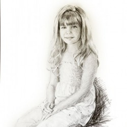 charcoal drawing portrait of young girl