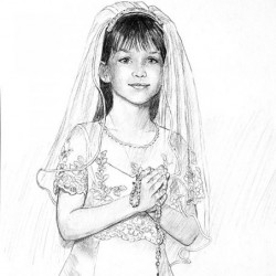 charcoal drawing portrait of young girl for communion
