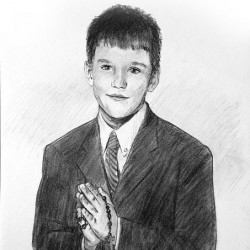 charcoal portrait of little boy for communion