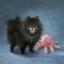 Portrait oil painting of black Pomeranian with toy