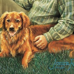 Oil painting portrait of Golden Retriever next to his master