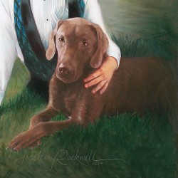 Oil portrait painting of chocolate lab