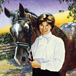 Portrait painting in oil of horse looking over lady's shoulder