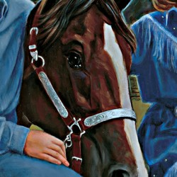 Portrait oil painting of horse's head with bridal