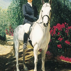 Oil portrait painting of lady rider on white horse