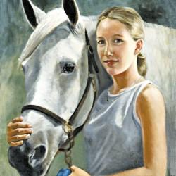 Portrait in oil of gray horse looking over teen's shoulder