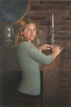 oil portrait painting of a teenage girl and a carved wooden mantle piece