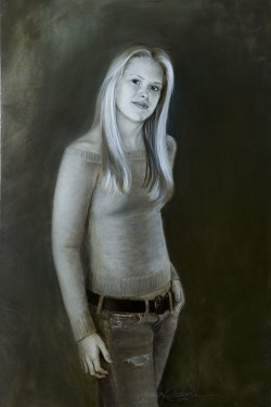 commissioned oil portrait of a girl in jeans