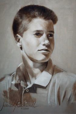 custom oil portrait of teen boy in sepia tones looking off