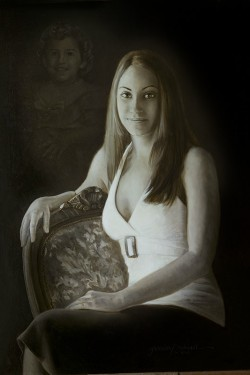 Oil Portrait of Young Woman with baby picture